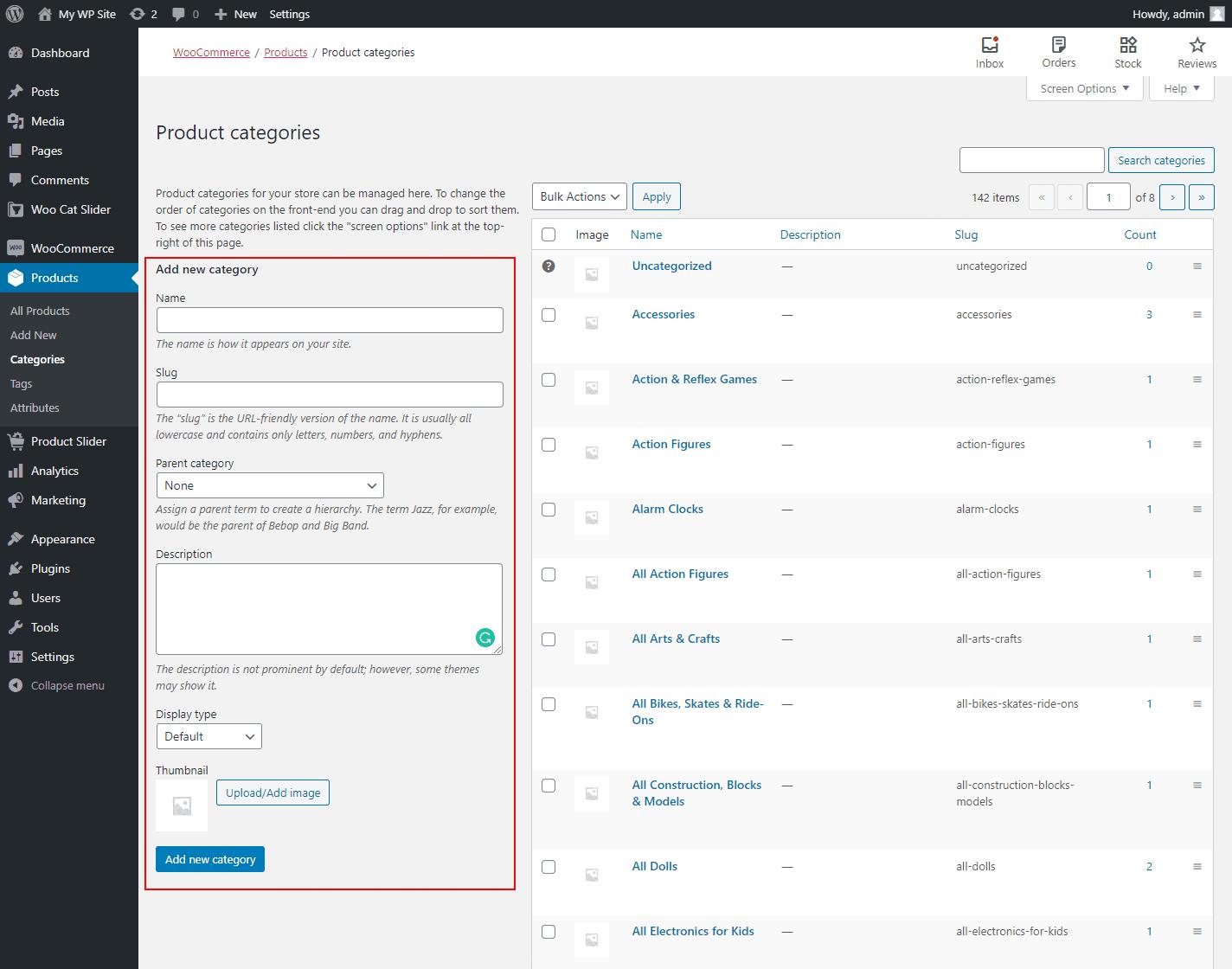 WooCommerce Category Input